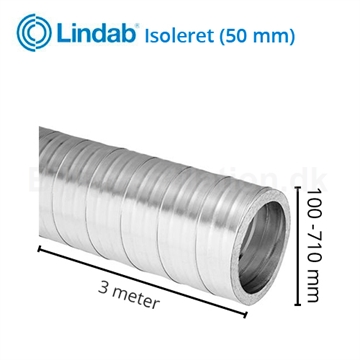 Lindab Isoleret Ventilationsrør SRI 3m 50mm